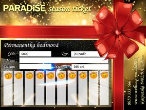 Darčekový poukaz, gift voucher PARADISE, Permanentka hodinová, Season ticket